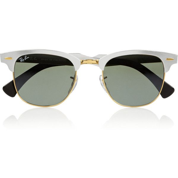 Ray-Ban Clubmaster D-frame aluminum mirrored sunglasses ($285) found on Polyvore