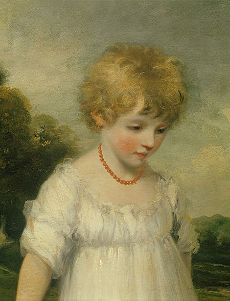 Coral necklaces in Regency paintings~ The tradition of giving children coral necklaces continued through the 19th century, as shown in this detail of a late 18th century John Hoppner painting of one of the Sackville girls. The gemstone was considered a guardian of sorts, protecting children from illnesses like stomachaches, fever, typhus, smallpox, and rickets. The mala beads were polished to a smooth sheen and matched in color.