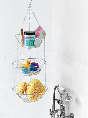Small bathroom storage idea~ perhaps in a corner that shelving isn't realistic? (Not sure about in the shower...rust...)