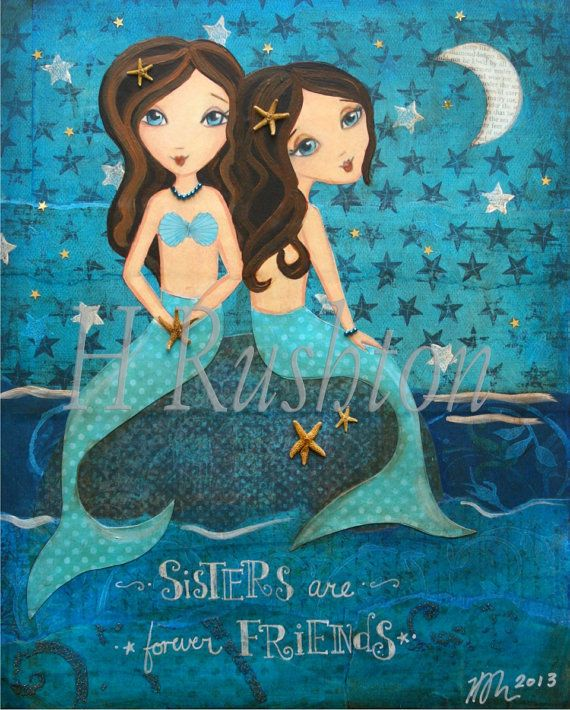 Mermaid Sisters Art- Mermaid Wall Art-- Kids Mixed Media Art- Childrens Art Print- 8x10 and 5x7- Mermaid Decor on Etsy, $14.00