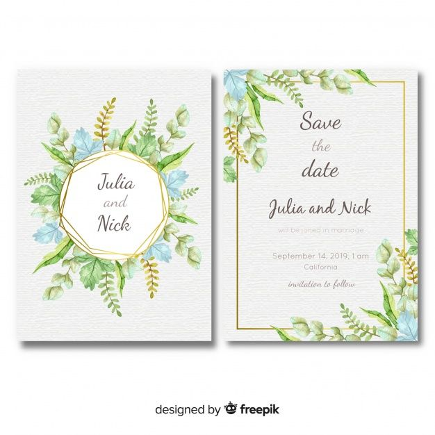 Download Lovely Wedding Card Template With Watercolor Leaves For Free Wedding Cards Floral Wedding Invitation Card Wedding Invitation Templates