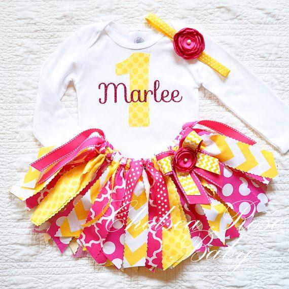 Pink Lemonade Fabric tutu outfit First Birthday by ChelseaRoseBaby