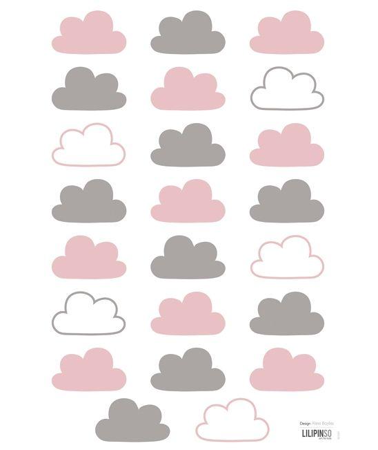 Stickers décoratif nuages rose et gris