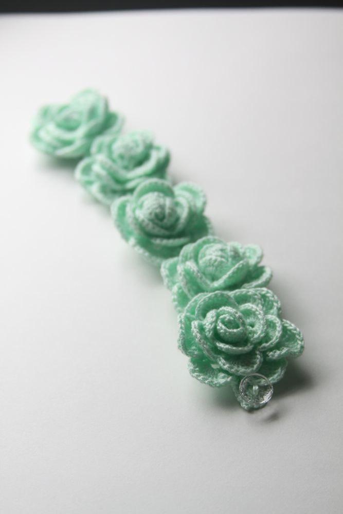 Mint Roses Crocheted Bracelet. $95.00, via Etsy.