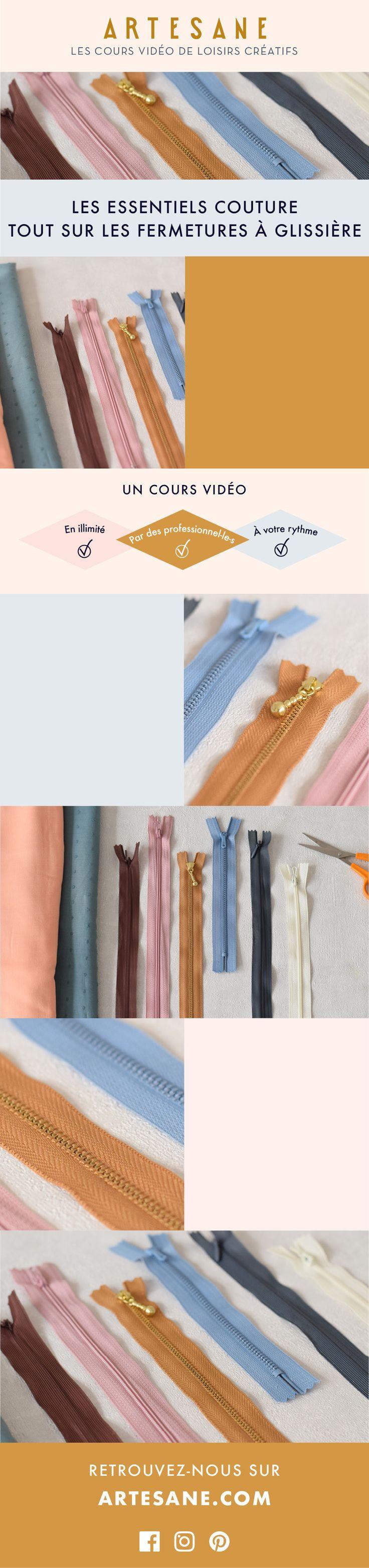 Les essentiels couture, tout sur les fermetures à glissière, un cours de couture sur Artesane.com.  Artesane, le site de cours vidéo de loisirs créatifs.  Apprendre à coudre des fermetures éclairs.