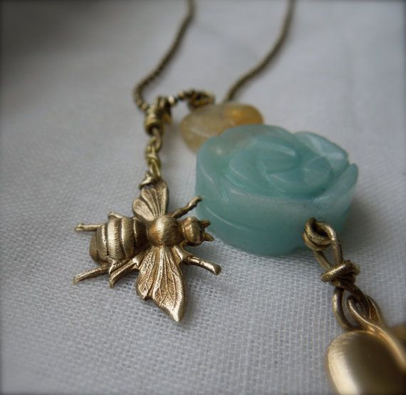 Amazonite Leaf & Bee Trinket Necklace by StellaMargaritis on Etsy, $45.00
