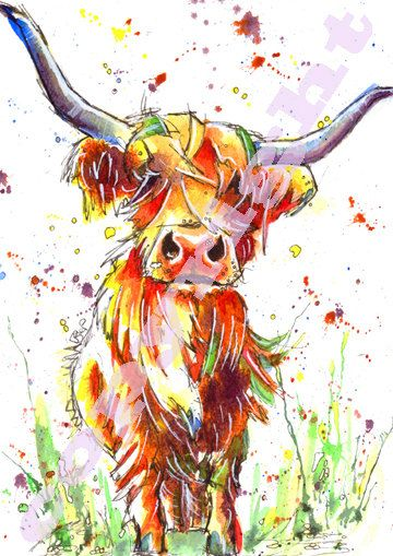Fabulous Print of Original Watercolour Highland Cow Painting by Josie P Size: 8.3ins x 11.7ins (29.7cm x 21cm)