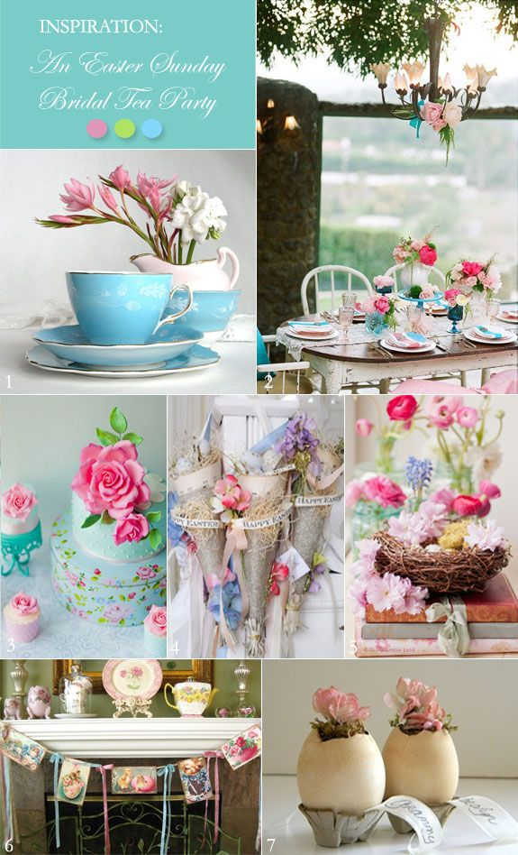 bridal shower themes for spring%0A A Vintage Easter Bridal Shower Tea Party in Pink and Aqua