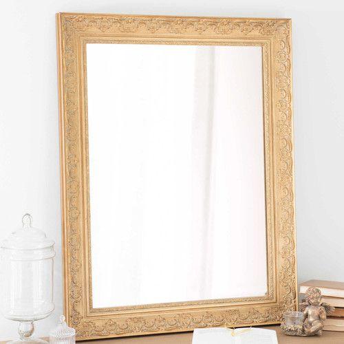 Specchio in legno di paulonia dorato 70x90 cm nel 2019