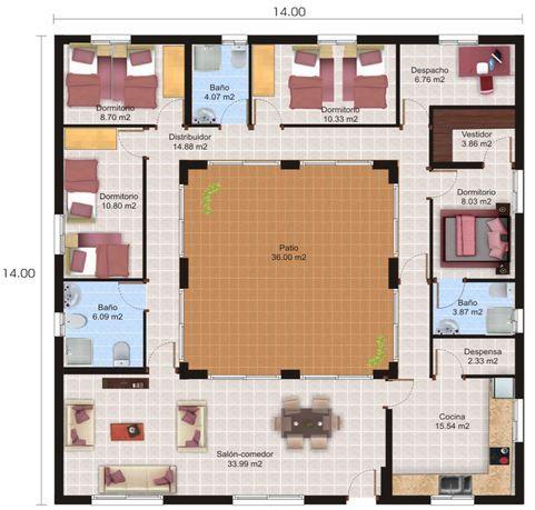 Plano de casa con patio central                                                                                                                                                                                 Más