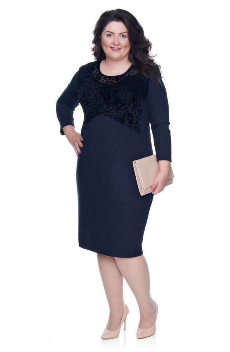 Granatowa sukienka ozdobiona welurem - Modne Duże Rozmiary