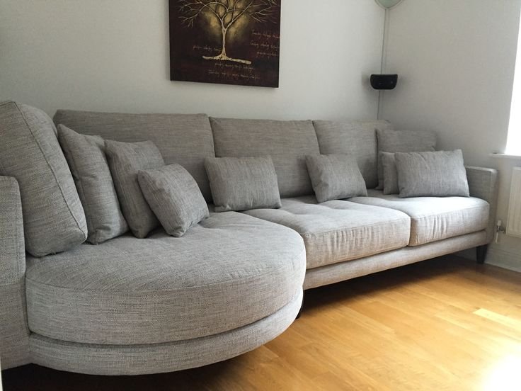 Ole Rounded Chaise And Sofa Section In Soft Grey Fabric Dark Wood Legs