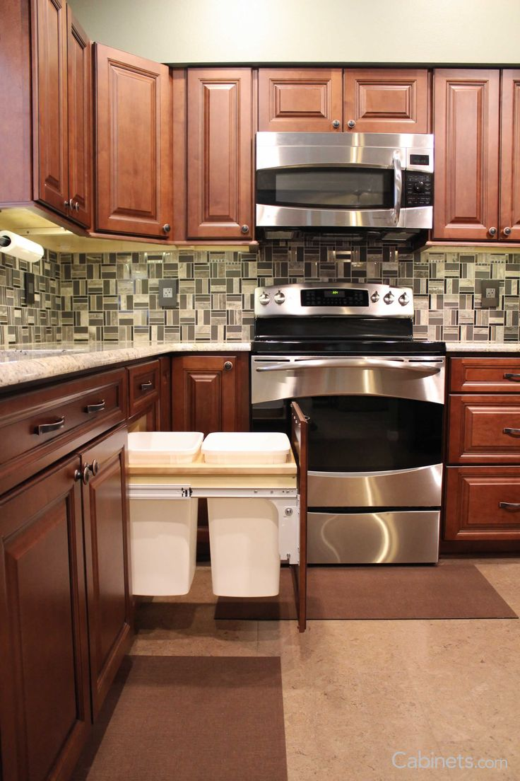 37 best cabinet accessories images on pinterest kitchen cabinets trash pull outs is one of our popular cabinet upgrade add them to your kitchen
