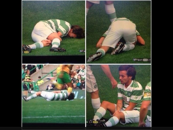Louis got hurt playing football today :( He got tackled and the guy was significantly taller than him and yeah...