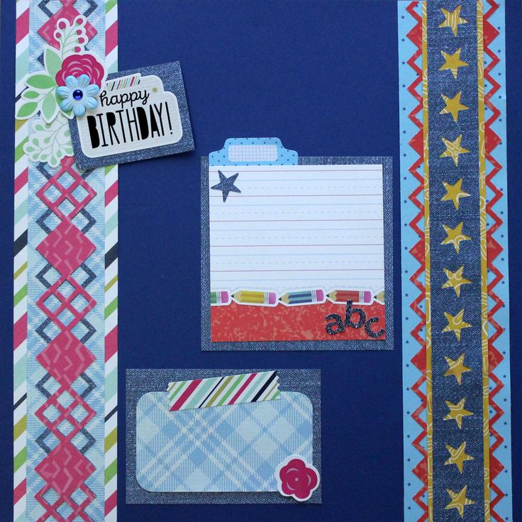 Bold and geometric, the Argyle punch is fun to use on all kinds of page layouts. I've paired it with the versatile Denim Blues collection in each of the border ideas below;and added a theme …