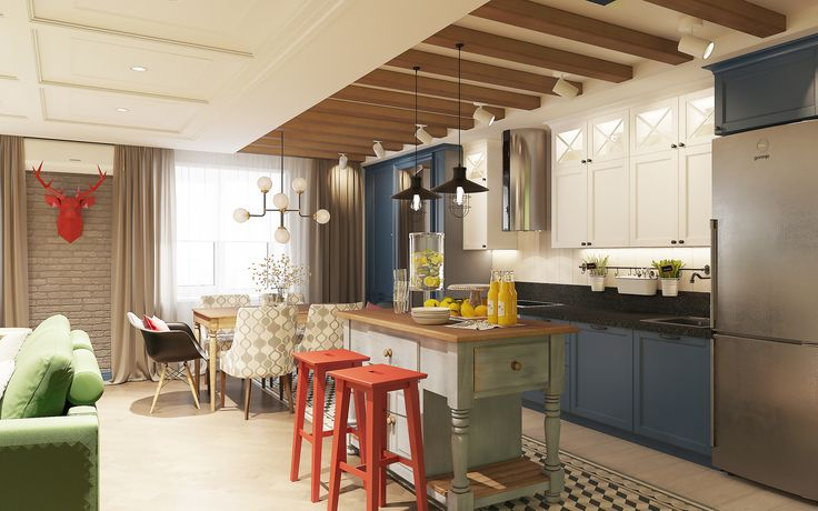 Синяя кухня, остров, лофт