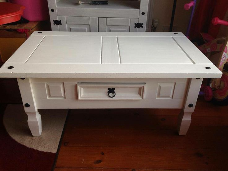 Corona Mexican Pine coffee table painted white and protected with wax