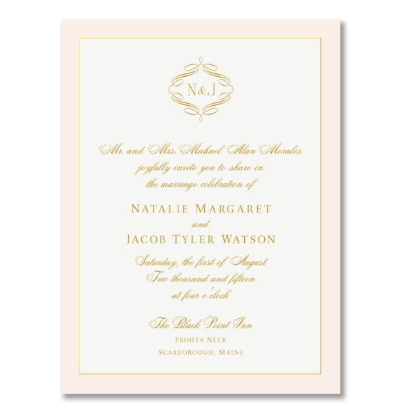 This simple but elegant invitation from William Arthur combines a romantic blush pink with a gold printed and bordered white card showcasing your intials. If soft pastels are in your plans, but you're wanting to keep tradition in mind this might be just the ticket.