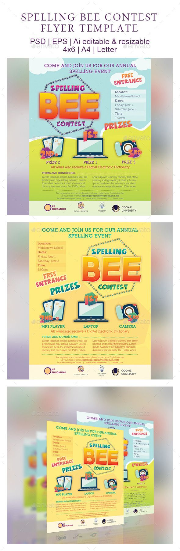 spelling bee contest flyer template flyer template student and poster. Black Bedroom Furniture Sets. Home Design Ideas