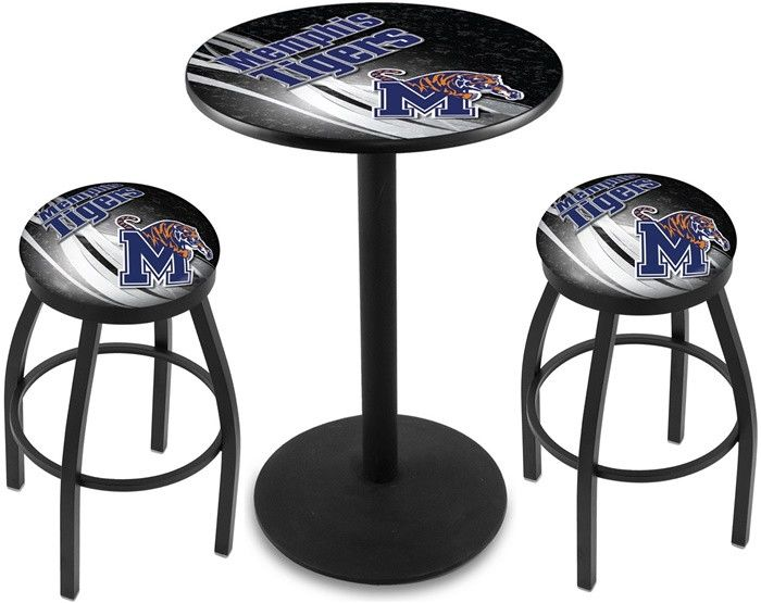 Memphis Tigers D2 Black Pub Table Set. Available in two table widths.  Visit SportsFansPlus.com for Details.