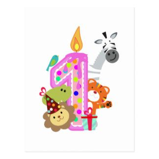 first birthday candle zoo party animals postcard