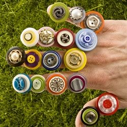 Recycled Button Rings