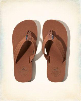 Leather Logo Flip-Flops