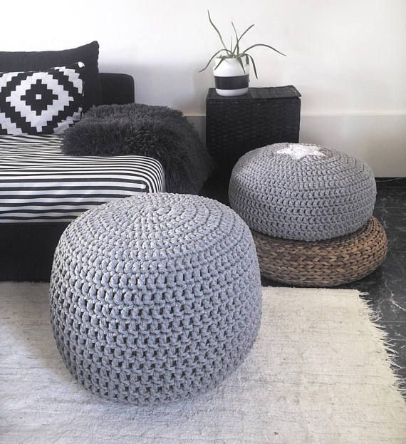 This Grey Large Pouf Ottoman Is A Beautiful Accent Pieces To Use A