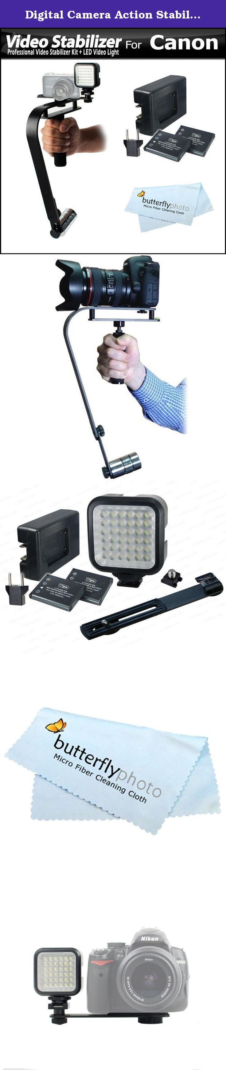 Digital Camera Action Stabilizer Handle + Deluxe LED Light Kit For Canon Powershot G1 X, Mark II, G16, G15, SX60 HS, SX50, SX40, SX700, SX600, SX170 IS, SX530 HS, SX540 HS, G3 X, G1X Mark II, G7 X Camera. Kit Includes: 1) Vidpro - Professional Video Camcorder & Digital SLR Camera Stabilizer 2) Vidpro - LED-36 Deluxe LED Digital Video Light Kit with Support Bracket, with Li-Ion Batteries and Charger. 3) ButterflyPhoto - Micro Fiber Cleaning Cloth The Vidpro SB-10 Video Stabilizer provides...