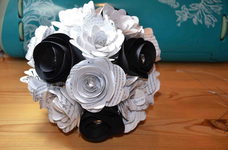 Top view of black and white paper flower bouquet available from AJ's Craft Creations. https://www.facebook.com/ajs.craft.creations