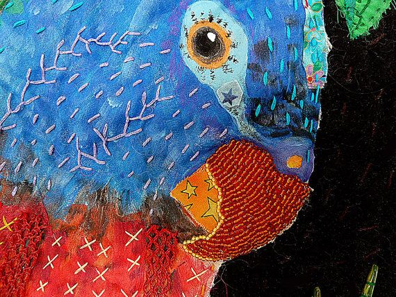 Reggae Parrot Art Quilt Mixed Media Parrot by FearlessFiberworks