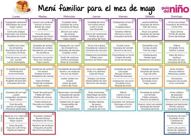 Menú mensual para niños para mayo de 2016 - Menú mensual para niños - Alimentación - Guia del Niño
