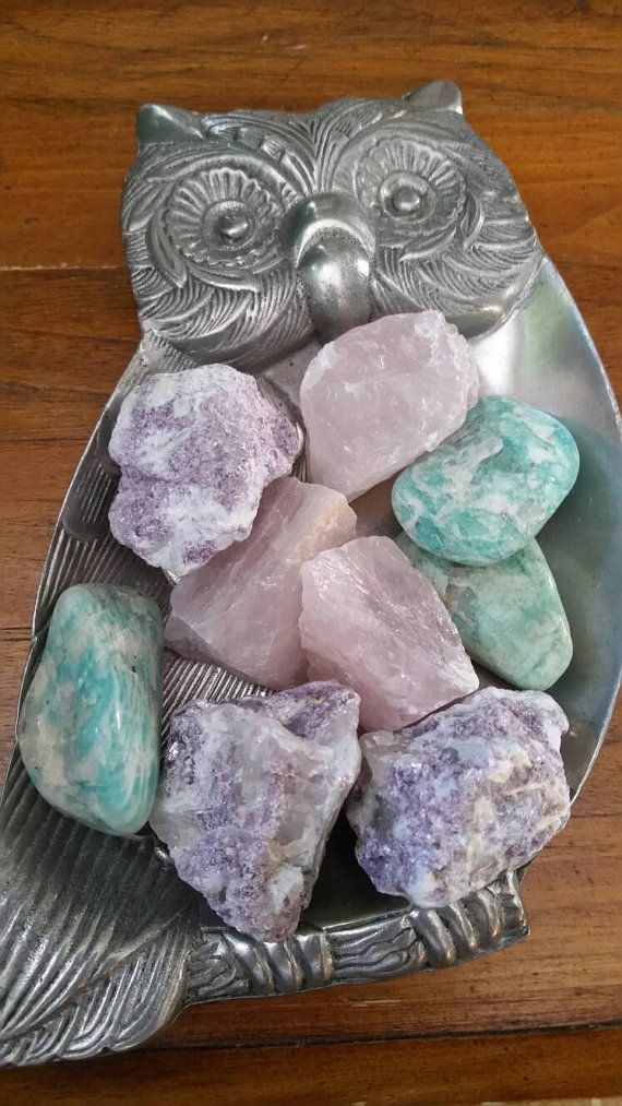Healing Stones for Anxiety, Calming Stones, Rose Quartz, Amazonite & Lepidolite, Set of Three, Healing Crystals, Reiki Stones,