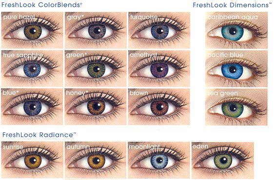 FreshLook ColorBlends colored contacts are the most popular cosmetic contact lens in the world! Add a splash of color to your gaze with these vivid yet natural color contacts! The slightly enlarging 14.5mm diameter means that these work as circle lenses as well. Buy now with Free Shipping!