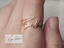 "18K vergoldet 925 Silber Ehering""Handgeschrieben"""