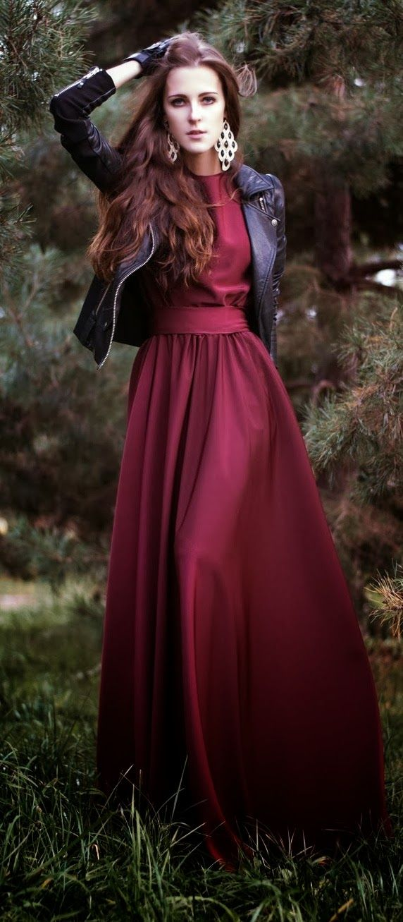 Love everything about this look! Gorgeous burgundy long maxi dress paired with a leather jacket.
