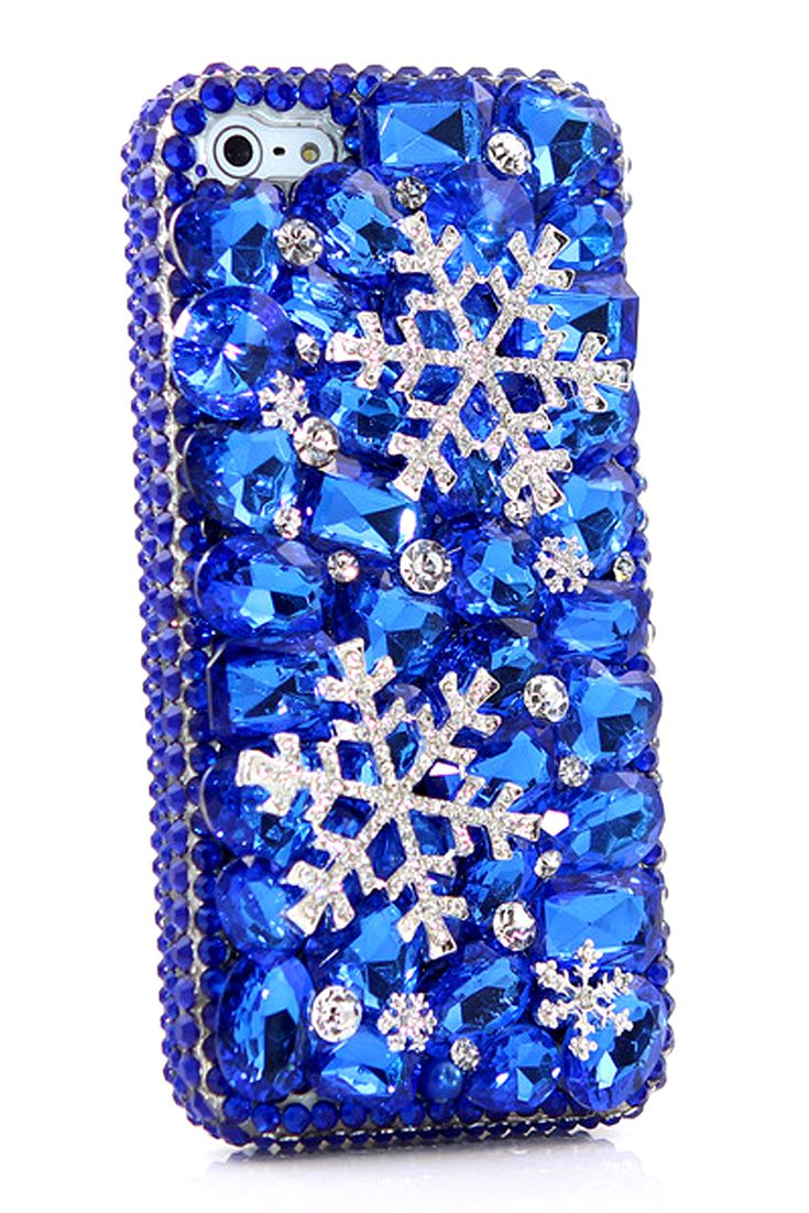 iPhone 5 5c 5s bling case Blue Snowflake Design Vintage luxury phone cover Crystals for women's fashion
