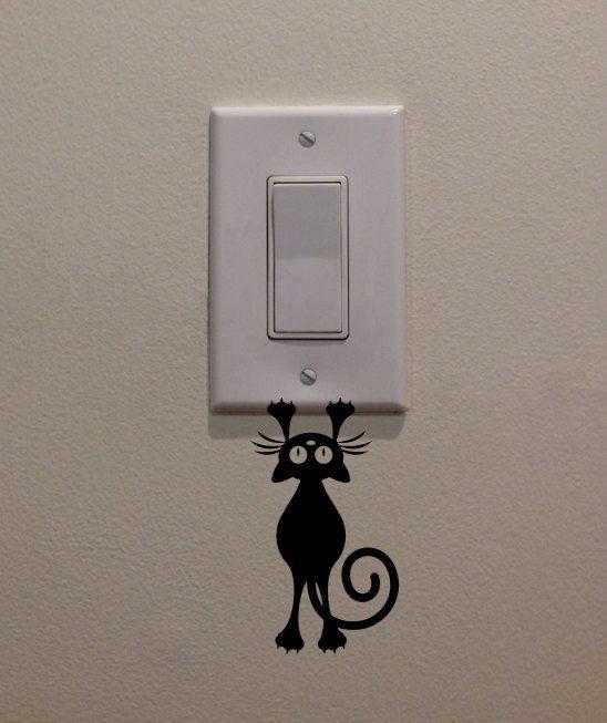 """Katze/Kätzchen hängen vom Lichtschalter (2,5"""" Percussion"""")-Schlafzimmer/Home Decor Aufkleber"""