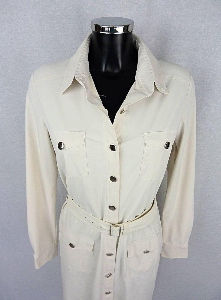 Robe blanche de créateur, IRIE WASH, robe boutonnée, robe manches longues, Taille M (size M) 38 FR de la boutique TheNuLIFEshop sur Etsy