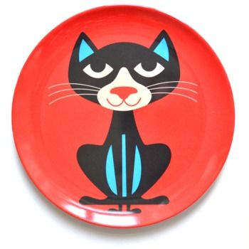 Cat melamine plate by Swedish Illustrator Ingela Arrhenius.