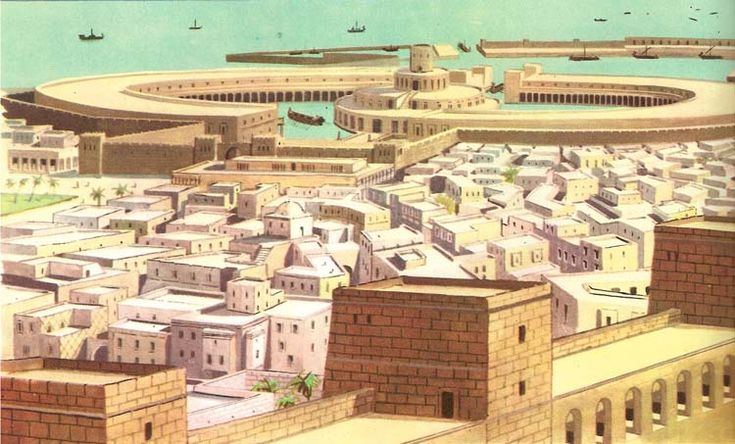 Reconstruction image of ancient Carthage and its harbour as it appeared before Roman conquest - situated in modern day Tunisia