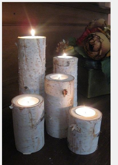 Silver birch candle holders,