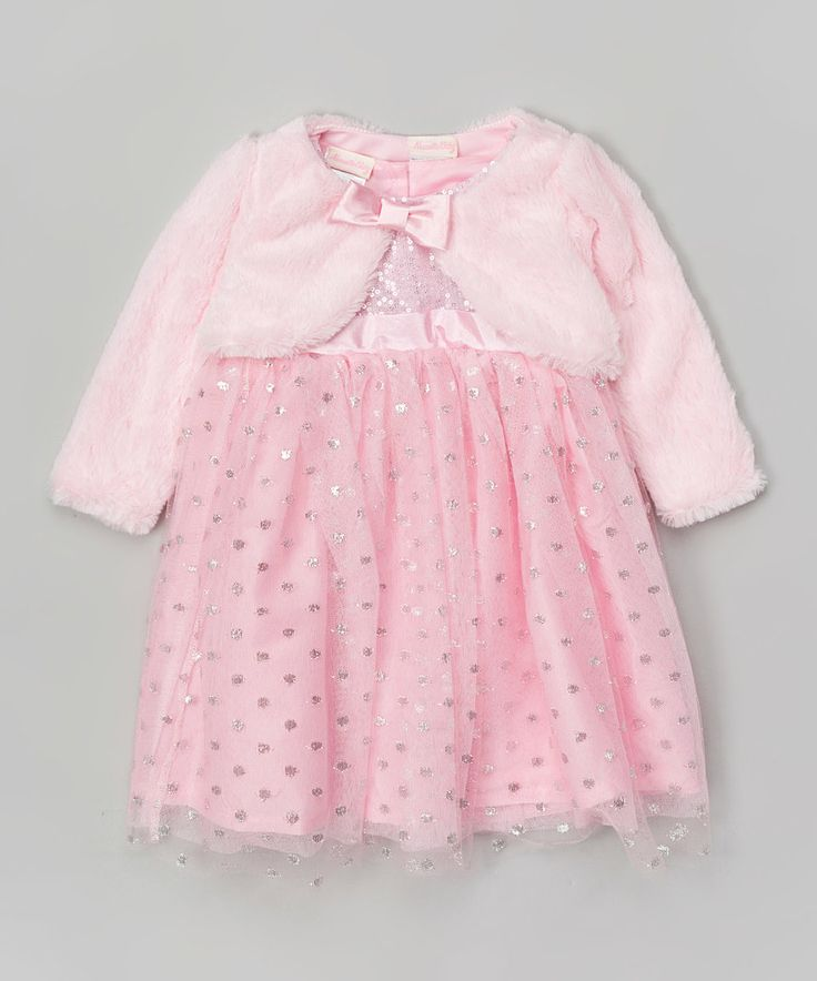 Love this Pink Polka Dot Sequin Dress & Faux Fur Bolero - Toddler by Nannette Baby on #zulily! #zulilyfinds