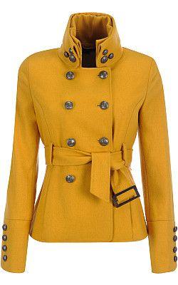 Yellow military coat.