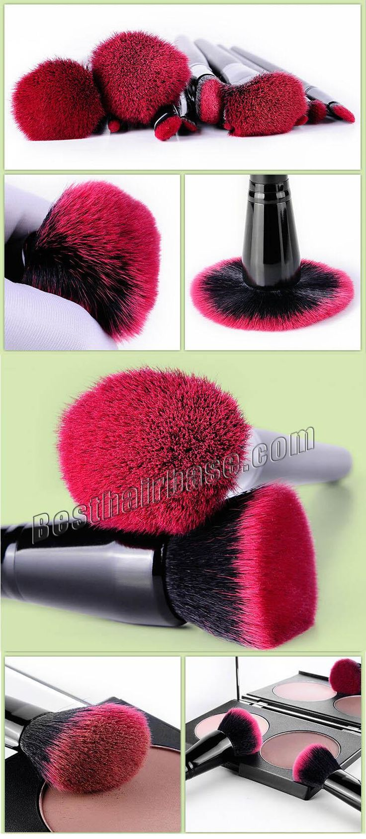 13 Pcs Red And Black Anti-microbial Artificial Fibre Brush Set  #makeupbrush
