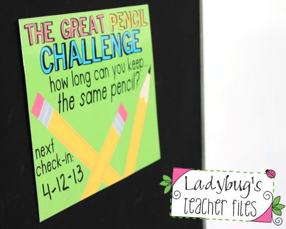 Ladybug's Teacher Files: The Great Pencil Challenge (managing pencils!) Totally doing this for once a month prizes with my homework hero awards!