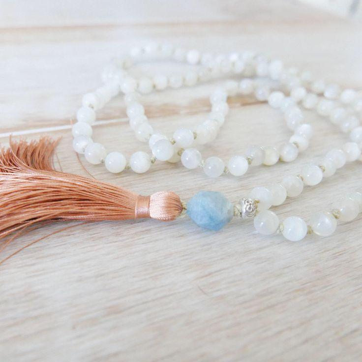 Divine Feminine Moonstone Mala Beads - 108 Beads/Moonstone Mala Necklace/Mala Beads 108/Mala Bead Necklace/Beaded Necklace/Tassel Necklace by seedofintention on Etsy https://www.etsy.com/listing/517613835/divine-feminine-moonstone-mala-beads-108
