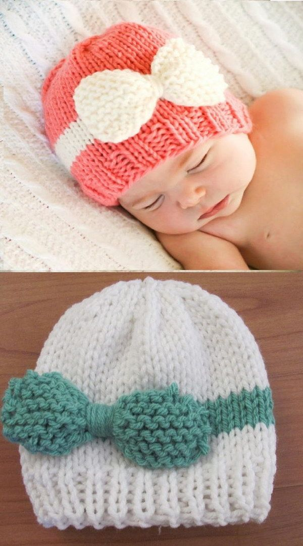 Knitted Baby Bow Hat. The baby looks so cute in this knitted  baby bow hat! It is simple and easy to make.  Head over to the full tutorial