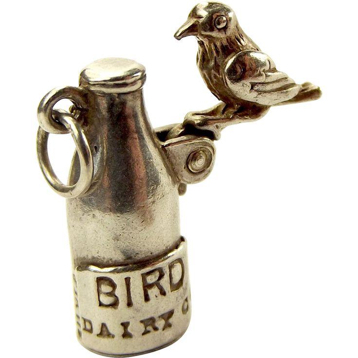 Rare Vintage Silver Charm Birding Pecking Milk Top