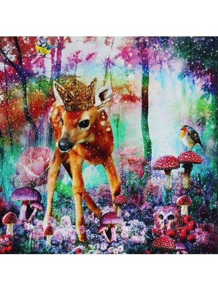 Bomuldsjersey - panel med skøn bambi og andre søde ting